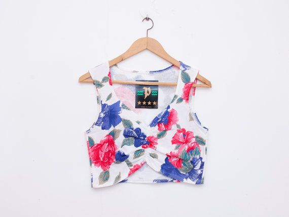 NOS vintage Floral crop top shirt size M by blessthatdress on Etsy, €15.00