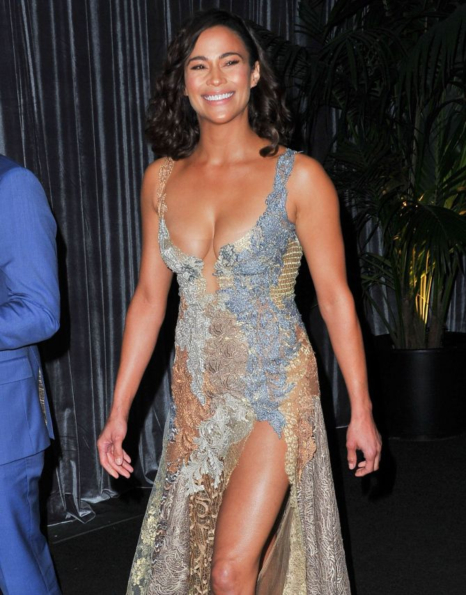 GOLDEN GIRL   Paula Patton goes for the gold in a figure-flattering dress at The Golden Screen Awards in L.A. on Thursday.  Star Tracks: Friday, November 4, 2016