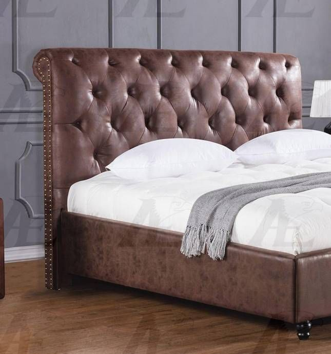 American Eagle Furniture B D061 Brown Queen Size Bed Leather Air Fabric Tufted Headboard Ae B D061 Q Buy Online In 2020 Bed Headboard Design Leather Bed Bedroom Brown Leather Bed