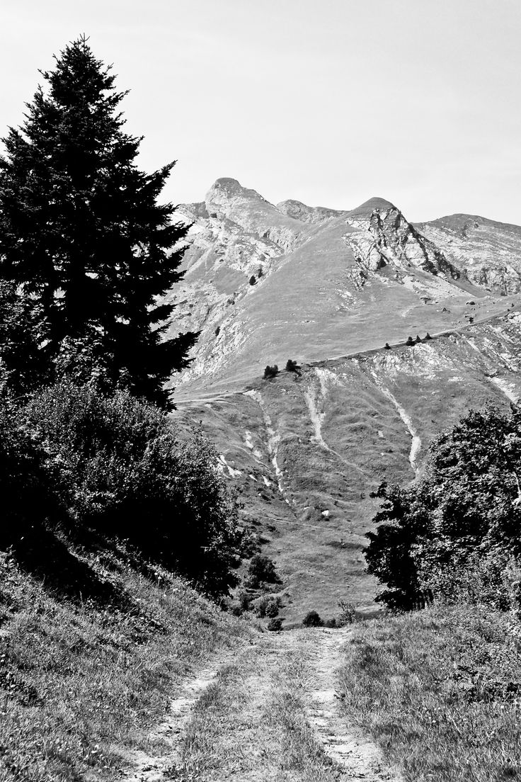 Paysage montagne les contamines montjoie Black and White
