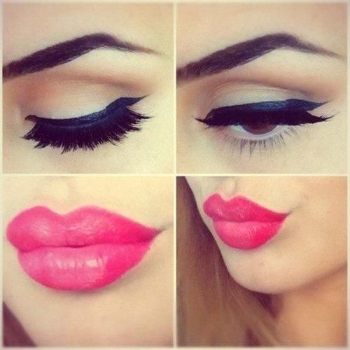 Gorgeous lip & eye make up style ღ