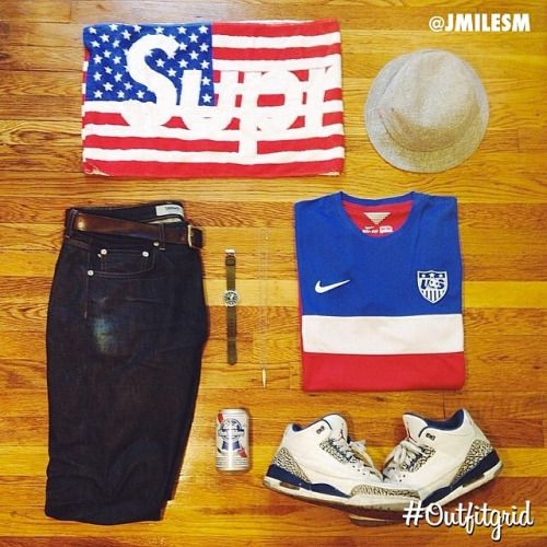 May 26th's top #outfitgrid is by @jmilesm. #Baldwin #Denim, #Supreme #BucketHat & #Towel, #Nike #USA #Jersey, #Bape #Watch #flatlay #flatlayapp #flatlays @flatlayapp