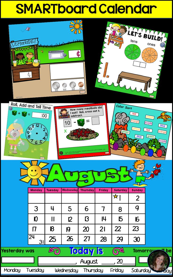 Kindergarten Calendar Time Common Core : Smart board calendar and common core activities for the