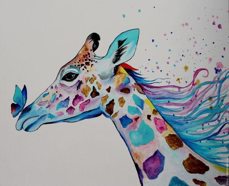 Купить Картина маслом Жираф - комбинированный, жираф, радужный жираф, акварельный жираф, масло, холст
