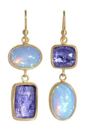 Stephanie Albertson Opal and Tanzanite Earrings