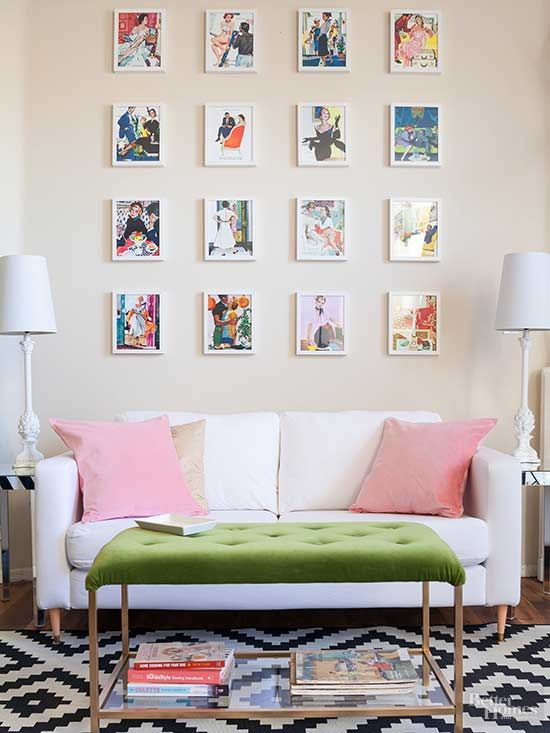 "A common problem when hanging artwork above a sofa or sideboard is that it's not in scale. Having pieces that are too small or too large will make the whole arrangement look strange. ""Make sure artwork is at least two-thirds the size of the sofa or sideboard,"" Crisolo says. ""For example, a 9-foot-long sofa should have a 6-foot-wide expanse of art above it."""