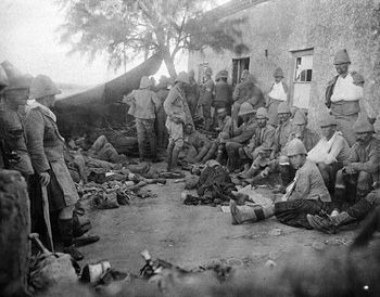 Field Hospital, Paardeberg, 19 February 1900, the second day of the battle. Most of the soldiers are British Gordon Highlanders, but some are from 2 RCRI.