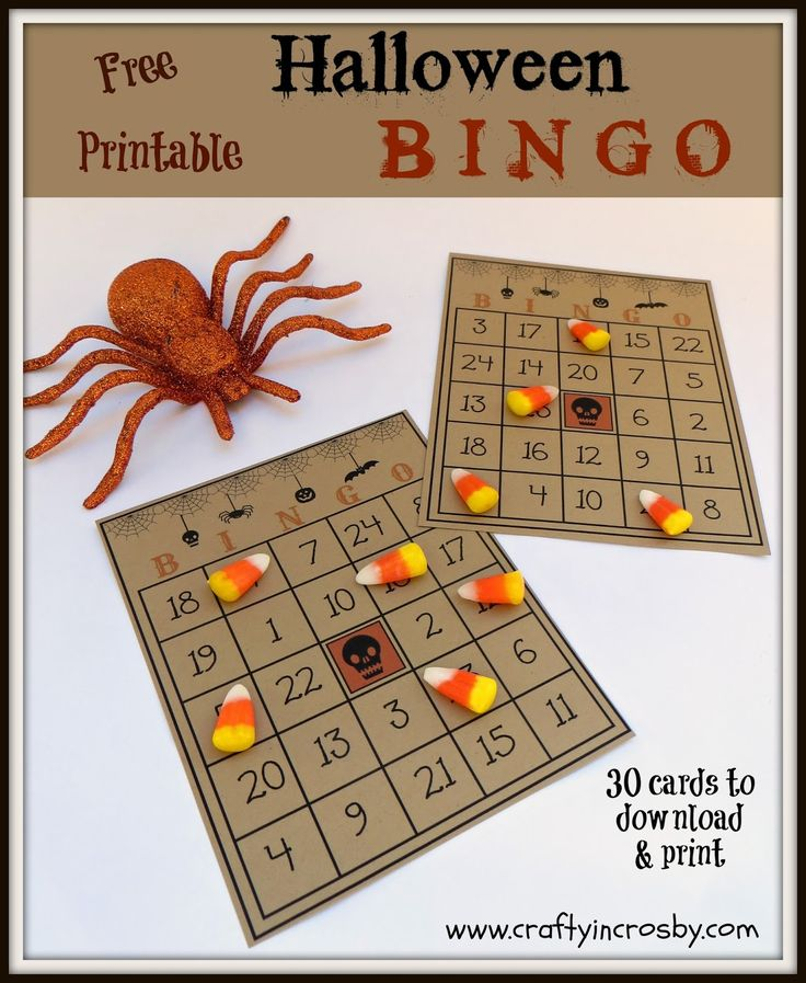 Free Printable Halloween Bingo Game with 30 cards, call sheet and numbers.