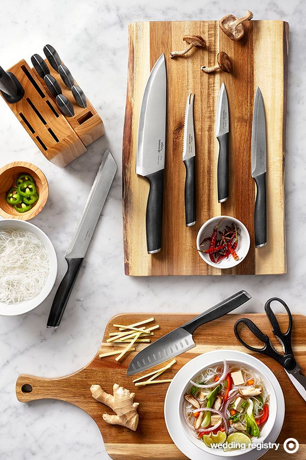 A good knife set is a smart investment, and your wedding registry is the perfect time to upgrade. This Select by Calphalon 15-piece cutlery set is crafted from high quality stainless steel with a full tang for durability and balance. And it has everything you'll need to prep a dinner party for 2 (or 20): bread knife, kitchen shears, Santoku knife, tomato/bagel knife, utility knife, chef's knife and paring knife, plus 6 steak knives and a space-efficient storage block.