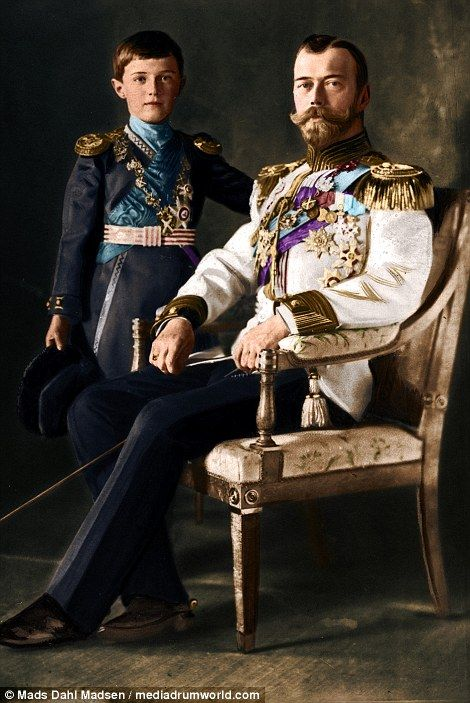 Tsar Nicholas II with his son, Tsarevich Alexei Nicolaevich...