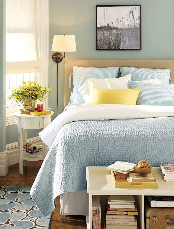 blue bedroom - pretty pretty: Guest Bedrooms, Yellow Bedrooms, Blue Wall, Bedrooms Design, Blue Bedrooms, Master Bedrooms, Yellow Accent, Guest Rooms, Bedrooms Ideas