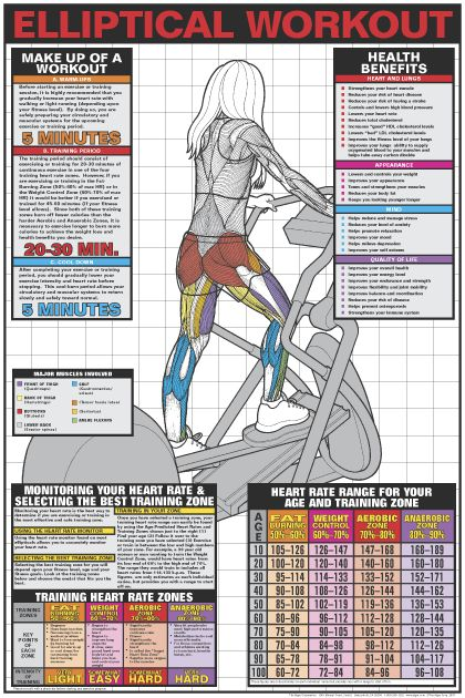 Elliptical Workout Poster - Laminated in Fitness Charts