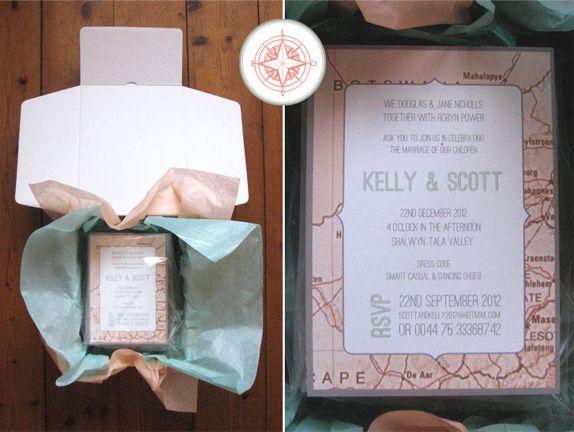 Travel-inspired postcard wedding invitations