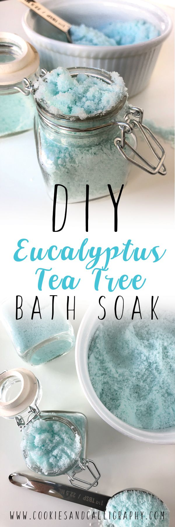 DIY EUCALYPTUS TEA TREE BATH SOAK | Y'all…this is going to be your best friend this winter. It's cold out, which means everyone has been taking refuge inside to keep warm. Therefore, you are exposed to so much more…meaning germs. Gear up, people! And lets be honest, nothing makes you feel better when sick like a warm bath or shower...