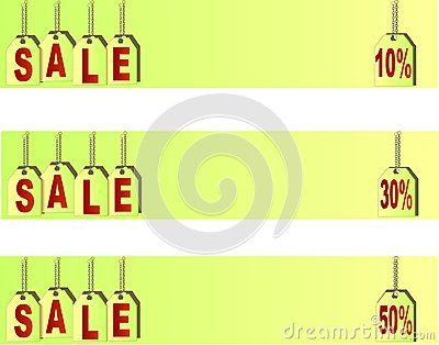 Vector price tags symbolising SALE banners,