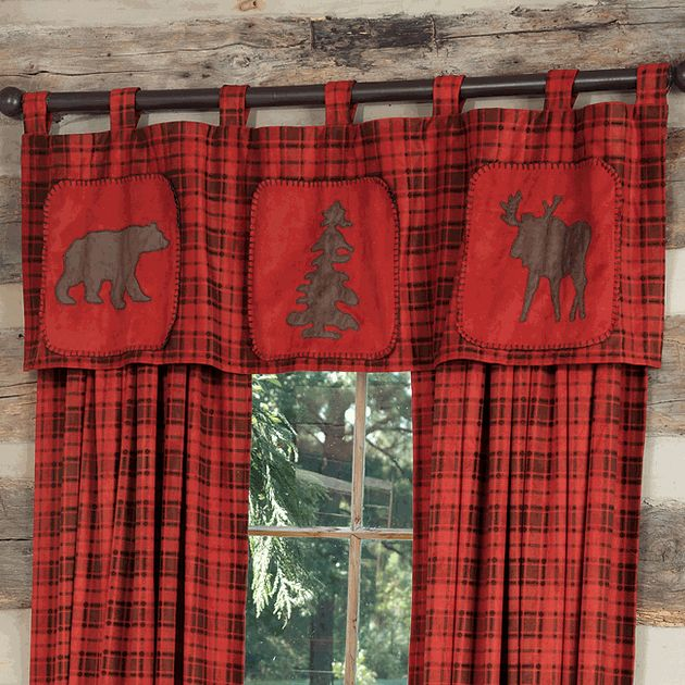 Moose Amp Bear Red Plaid Valance Cabin Curtains Cabin