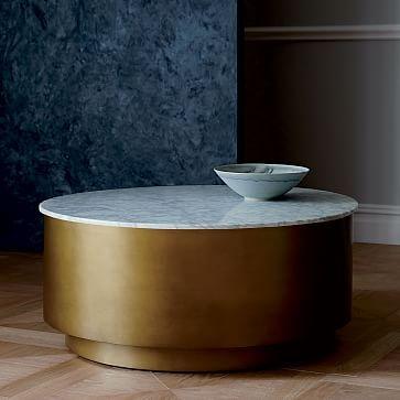 Marble + Metal Drum Coffee Table