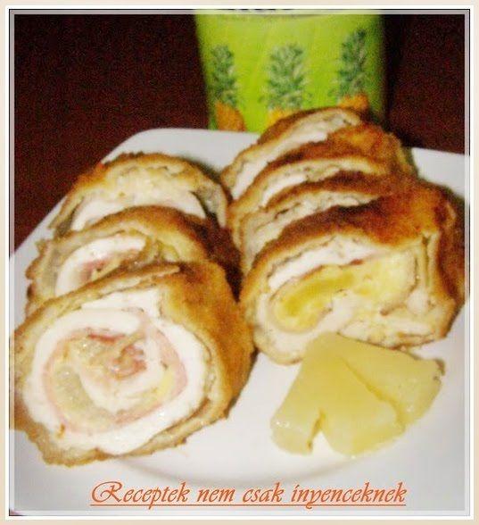 göngyölt csirkemell ananásszal baconnel