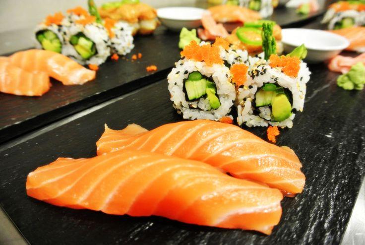 Chilean Salmon Nigiri, Vegetarian Rolls with Tobikko (flying fish roe) & Spicy Tuna on Crispy Rice