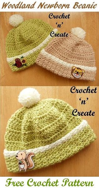 Easy Woodland Newborn Beanie | Free crochet pattern