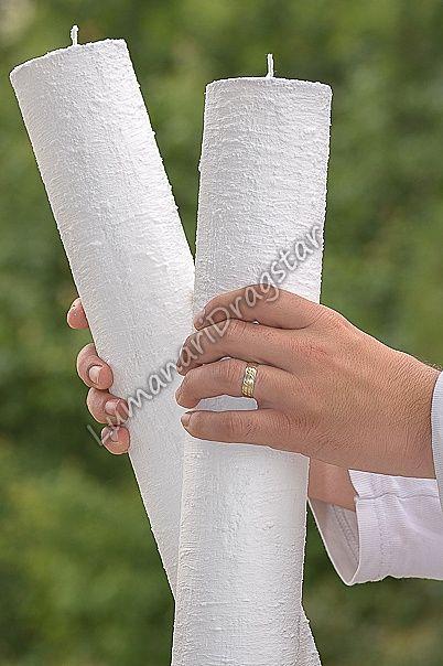 Lumanare cilindru diametru de 7cm, inaltime de 50cm - alb-texturate - lumanari nunta - lumanari botez - lumanari decorative