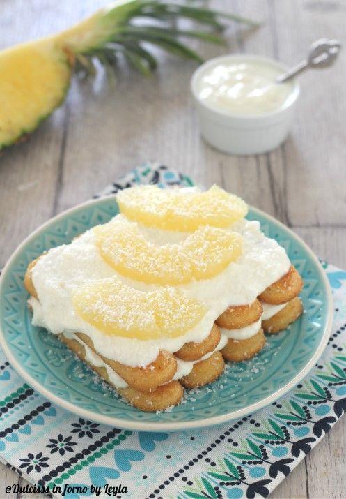 Tiramisu all'ananas senza uova, ricetta veloce Dulcisss in forno by Leyla