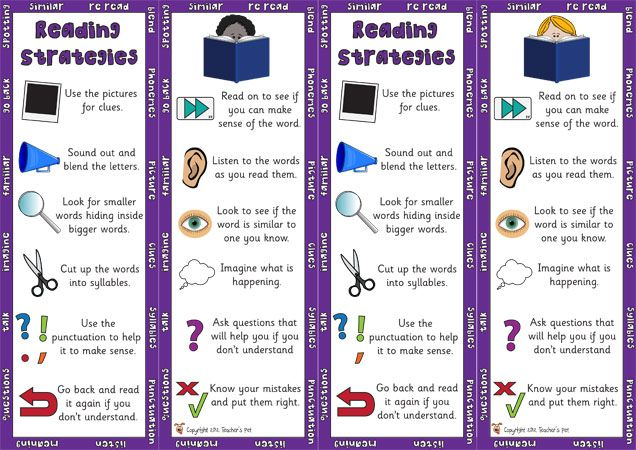 Teacher S Pet Displays Reading Strategy Bookmarks FREE