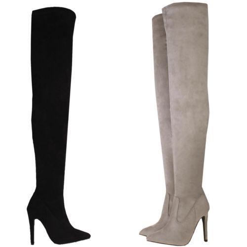 Da-Donna-Sexy-Alti-Tacco-a-Spillo-sopra-ginocchio-Stretch-coscia-molto-elevata-lunghezza-Stivali