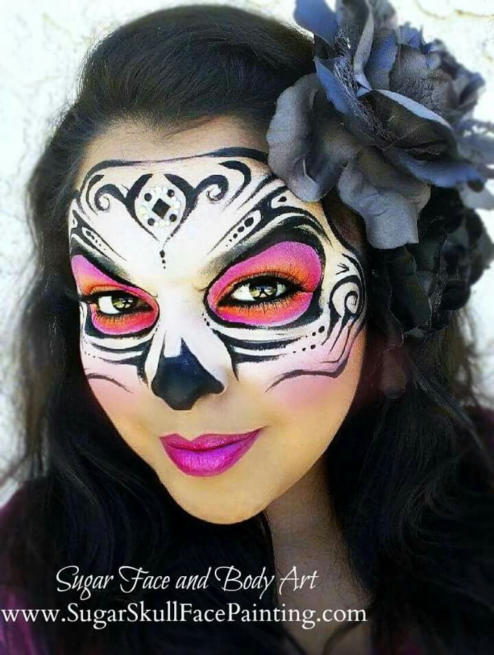 we provide professional sugar skull face painting and body painting services in los angeles and orange county - Halloween Skull Painted Face