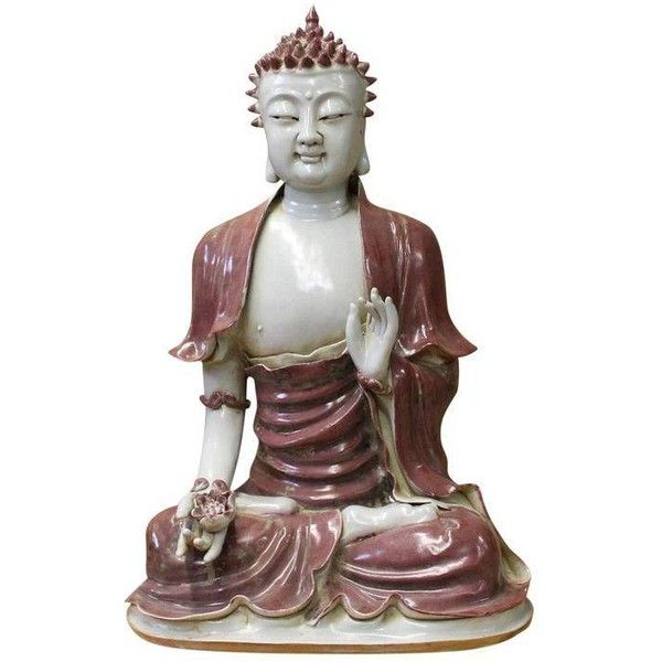 Vintage Chinese Red Glaze Porcelain Sitting Buddha with Lotus Statue ($2,180) ❤ liked on Polyvore featuring home, home decor, models & figurines, buddha home decor, vintage home decor, crown home decor, buddha figure and vintage home accessories