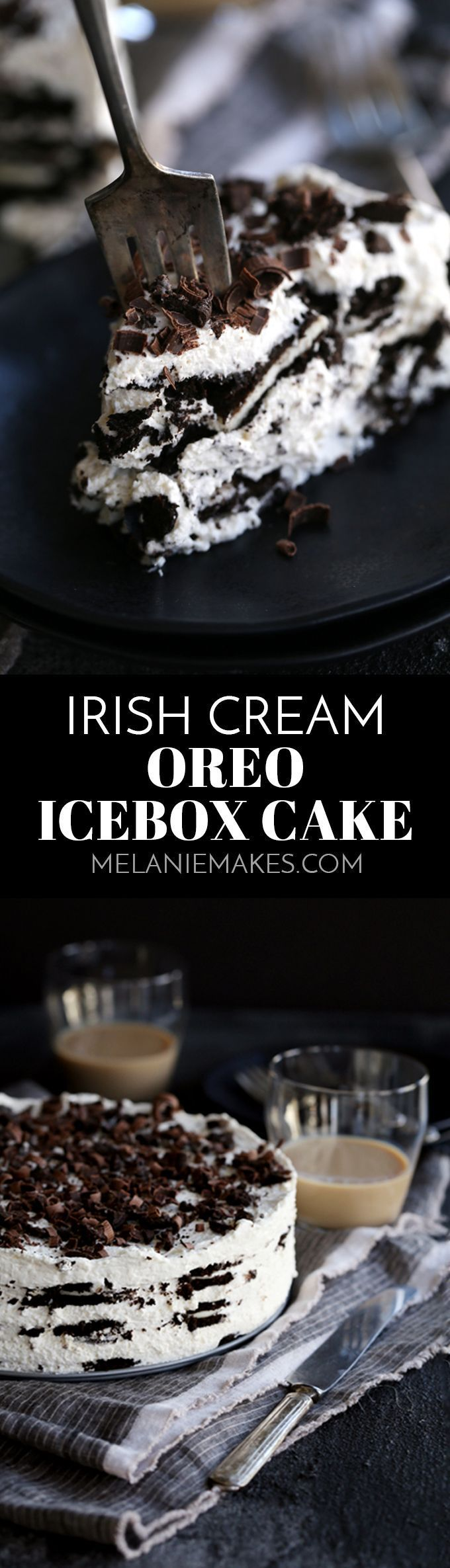 This six ingredient Irish Cream Oreo Ice Box Cake is likely one of the easiest desserts you'll ever make and absolutely perfect to enjoy for St. Patrick's Day. Layers of Oreos and Irish cream spiked mascarpone whipped cream make up this dreamy sweet treat.