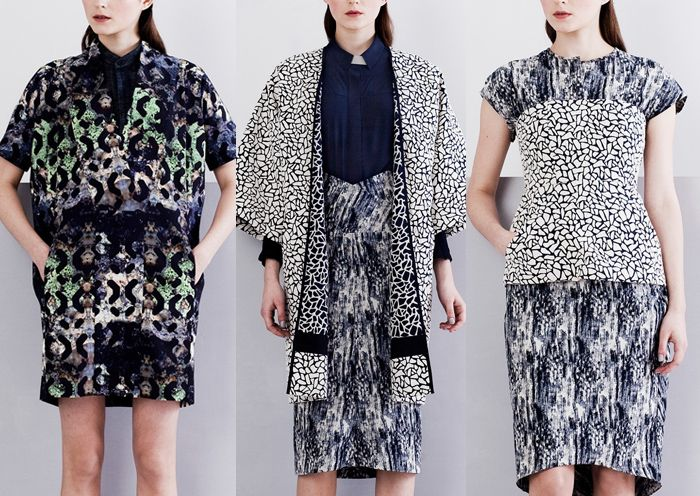 Zero + Maria Cornejo - Pre Fall 2014-Crazed Pattern – Textural Allover Prints  - Monochromatic Colour  - Modern Tie-Dye Effects – Brushed Movement – Overprinted and Masked Pattern