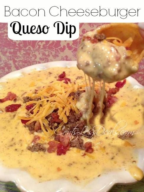 Bacon Cheeseburger Queso Dip. Cheese and bacon, what is not to love?! I made this last week and it was so good!!! This is definitely not a diet food, but would be an awesome superbowl party dip!!