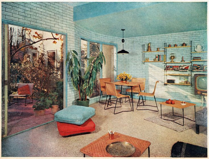 blue brick family room 1956 1950s interiorretro interior designretro - Retro 50s Home Design