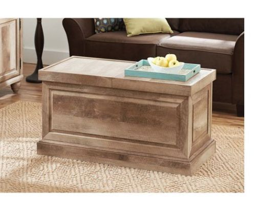Rustic Oak Wash Coffee Table Wood Weathered Trunk Sliding Storage Top Furniture Ideas For The