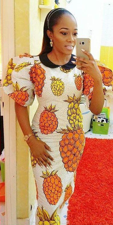 Ankara fruits style print dress, African fashion, Ankara, kitenge, African women dresses, African prints, African men's fashion, Nigerian style, Ghanaian fashion, ntoma, kente styles, African fashion dresses, aso ebi styles, gele, duku, khanga, krobo beads, xhosa fashion, agbada, west african kaftan