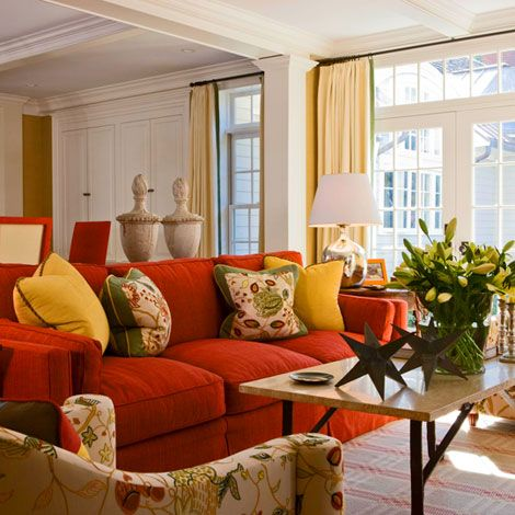 Best 25 green and orange ideas on pinterest orange room - Living room color schemes red couch ...