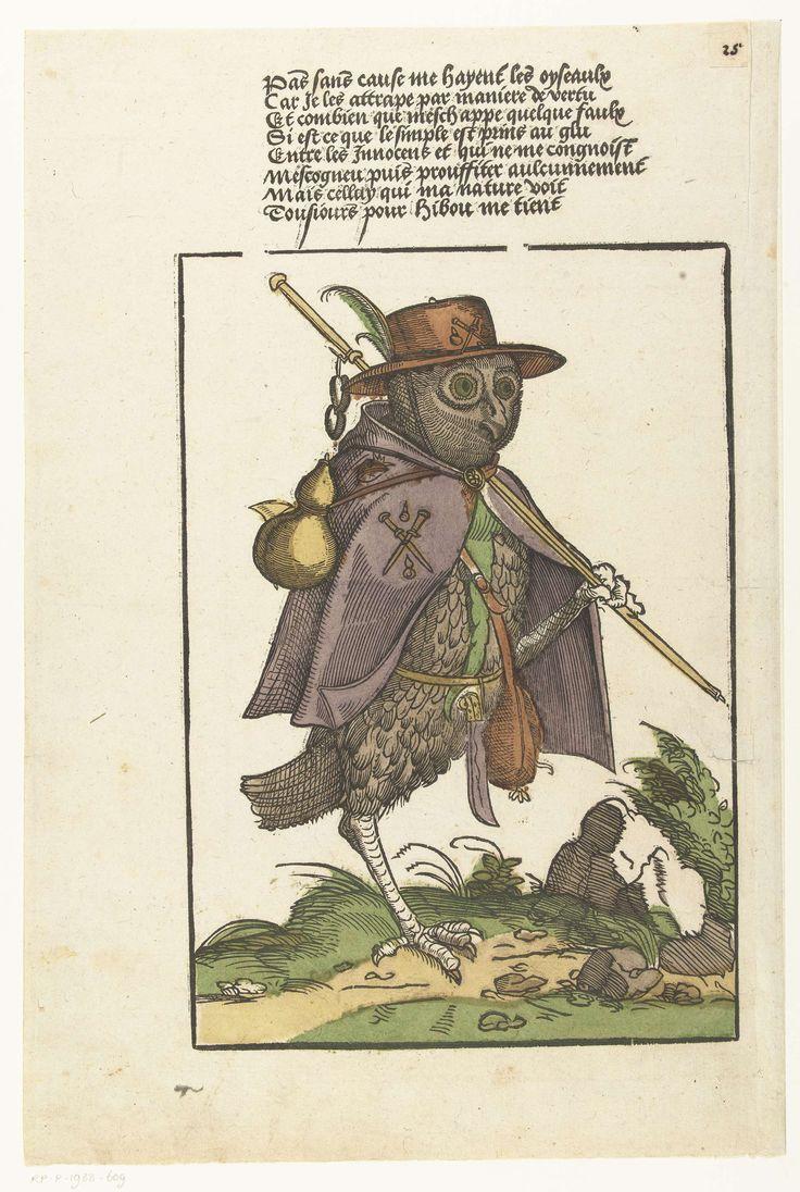 Uil uitgedost als pelgrim, Monogrammist MH (graveur), 1500 - 1549