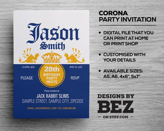 13 best invitation designs images on pinterest invitation design corona beer style party invite personalised invitation for your birthdayoccasion 21st filmwisefo