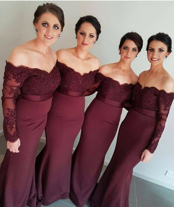 ==> [Free Shipping] Buy Best Long Sleeves Mermaid Bridesmaid Dresses 2016 Dark Red Burgundy Lace Off Shoulder Beads Maid of Honor vestido para casamento Online with LOWEST Price | 32691456813