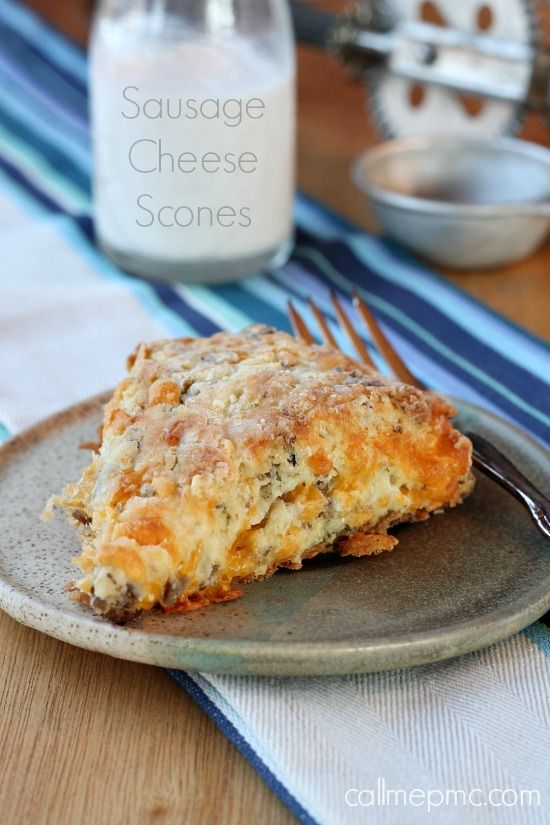 Cheddar cheese and spicy sausage are combined with Greek yogurt in these flaky, buttery and decadent Sausage Cheese Scones from Call Me PMc
