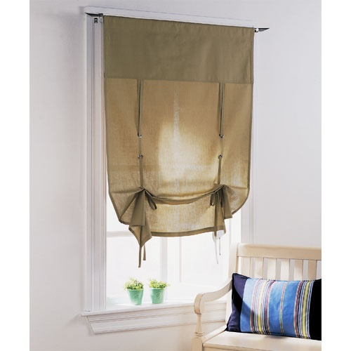 Curtains for the classroom--slightly more unstructured than a Roman shade, but still very tailored...i'm thinking i could make this!