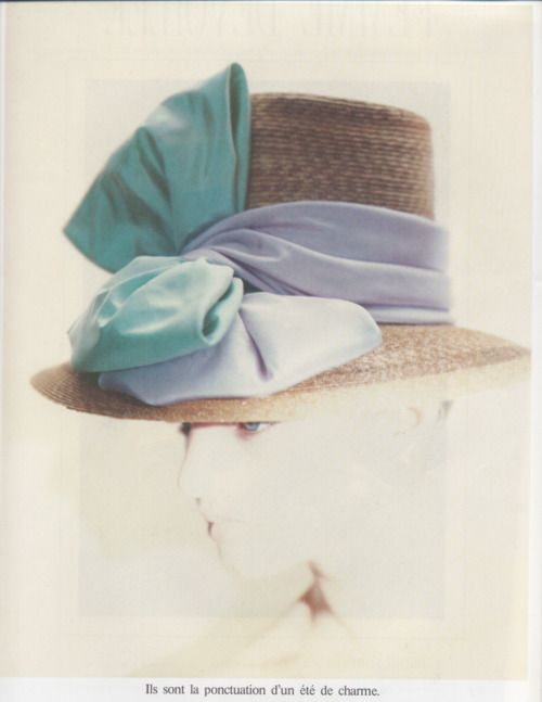Michaela Bercu in a Spring hat, by Paolo Roversi, 1988.