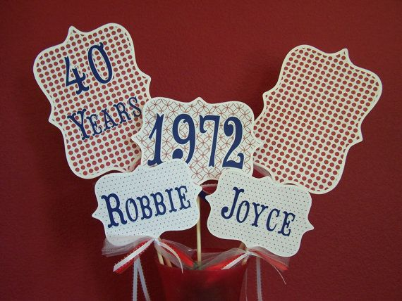 DELUXE Wedding Anniversary Centerpiece 50th 40th Large Picks Navy Blue Red Patriotic Decor Table Custom Personalized