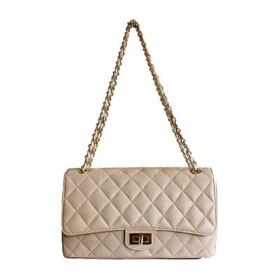 Designer Style Quilted Italian Dusty Pink Leather Handbag (Medium Size) - £74.99