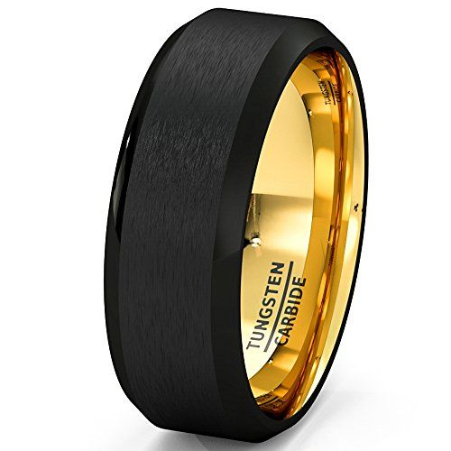 Mens Wedding Band Black Gold Tungsten Ring Brushed Surface Center Beveled Edge 8mm Comfort Fit (8)
