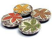 крем, Rust Red, горчично-желтый, коричневый и зеленый Сельский листопад Magnet Set - Natures Божественный дизайн