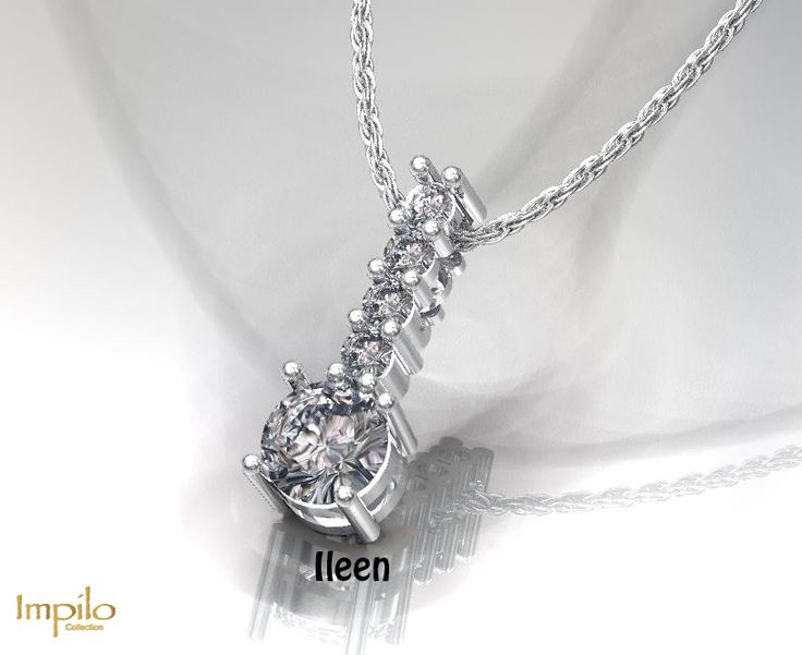 """Ileen"" - Stunning drop pendant with one round brilliant cut diamond and smaller diamonds above it."