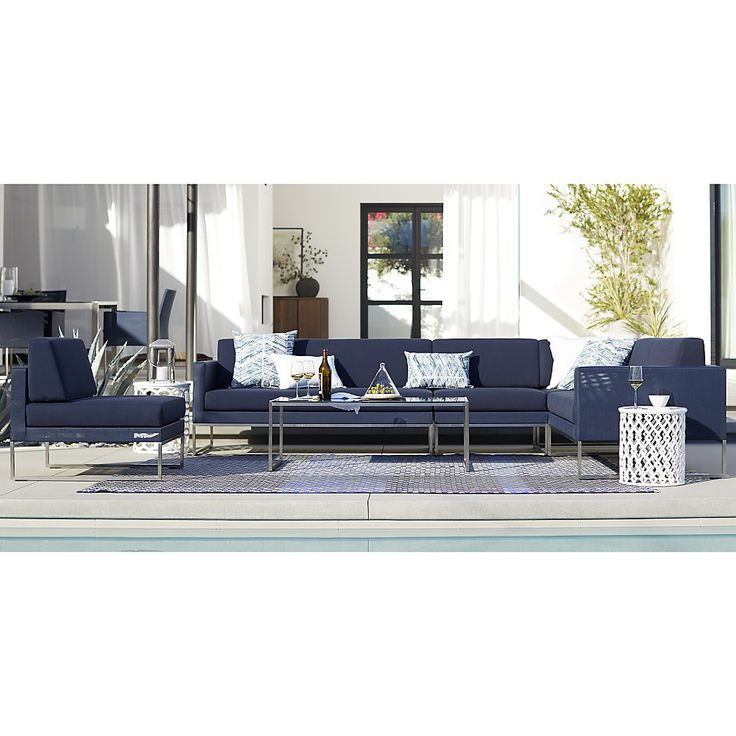 Shop Dune Left Arm Loveseat with Sunbrella ® Cushions.   Sunbrella outdoor cushions are weather-resistant.  The Dune Left Arm Loveseat with Sunbrella ® Cushions is a Crate and Barrel exclusive.