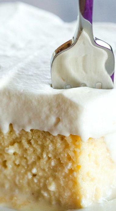 Tres Leches Cake: Sustituir 1 cup of sugar for 1/2 cup. Sustituir crema de leche por leche entera. Agregar ralladura de limón al bizcocho